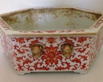 Chinese Qing Dynasty Period Large Superb Hand Painted Porcelain Iron-Red Bonsai Trays or Bonsai Pot