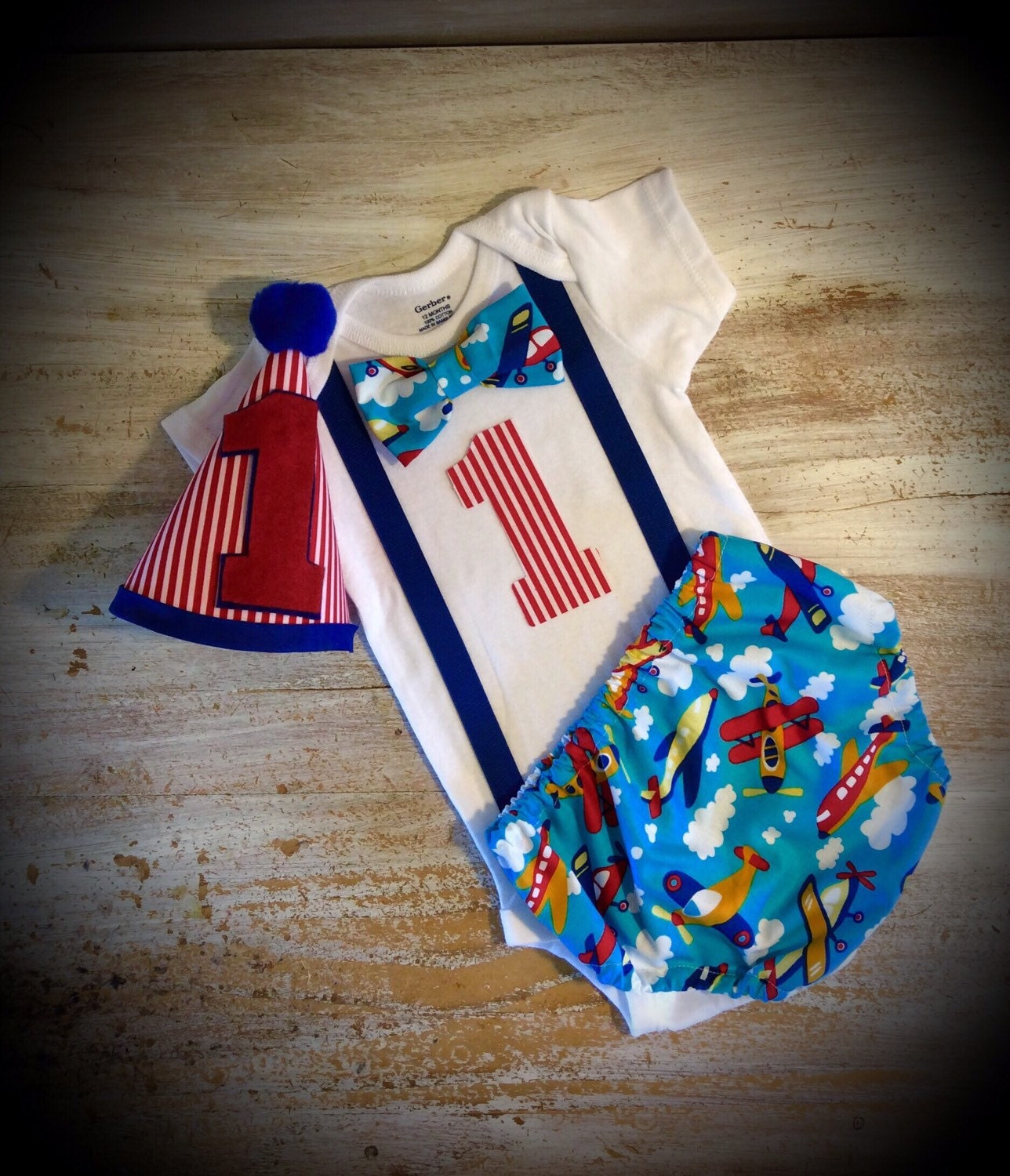Airplane Theme Cake Smash Outfit Boys 1st Birthday By