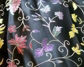 Black floral brocade fabric (1 1/3 yard)