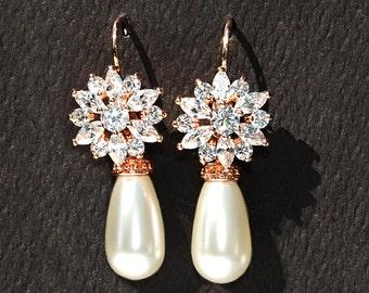 Off White Bridal Pearls 442ERG. Creamrose Pearl Bridal Earrings. CZ Rose Gold Earrings. Cz Bridal Jewelry Marquis Cz Earrings Blushing Bride