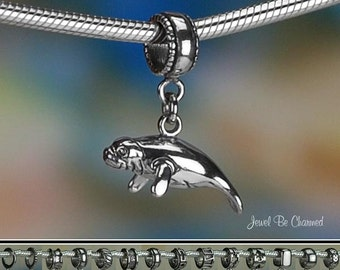 Sterling Silver Manatee Charm or European Style Charm Bracelet 3D