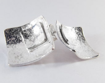 Earrings square, silver, 925