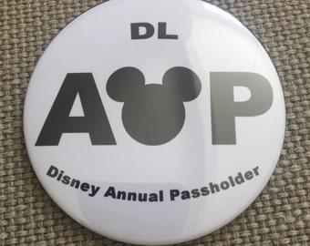 "Disneyland Annual passholder inspired  3"" button"