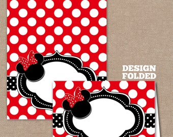 Minnie Mouse Food Labels, Minnie Mouse Buffet Labels, Minnie Mouse Tent Cards, Minnie Mouse Place Cards, Red (#608)