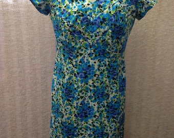 Vintage handmade vibrant blue floral print retro 1950's style wiggle dress size 14