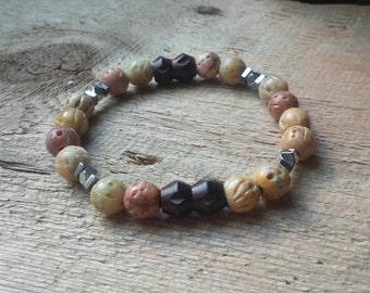 Mens Mala Bead Bracelet, Soapstone Bracelet, Stretch Bracelet, Carved Wood Bracelet, Yoga Jewelry, Skullznbeadz Bracelet