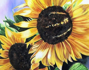 SUNFLOWERS Watercolor Painting Print, Limited Edition Giclee Print from my original watercolor painting  11 x 14, Yellow,  Orange.