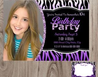 Purple Zebra Birthday Invitation With Picture DIY Printable