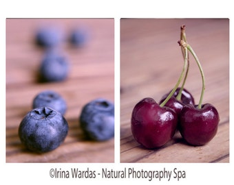 Fruit photography, rustic farmhouse kitchen decor wall art set of 2 kitchen prints, blueberries cherry photos vertical, dining room wall art