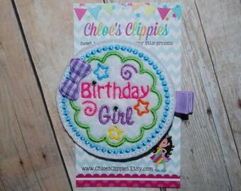 Birthday Girl Hair Clip - Birthday Girl Hair Bow - Felt Birthday Hair Clip - Felt Birthday Hair Bow
