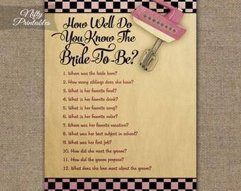 Kitchen Shower How Well Do You Know The Bride - Kitchen Bridal Trivia Game - Printable Black Pink Bridal Shower Games - Funny Bridal KBR