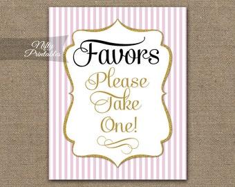 Favors Sign - Pink Gold Favor Sign - Gold Wedding Signs - Printable Baby Bridal Shower Favors Sign - Please Take A Favor Table Sign PGL