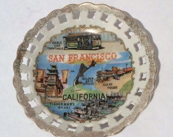 Vintage 1960s Souvenir San Francisco Plate/Ashtray by Efcco, Made in Japan, Kitschy and Kool