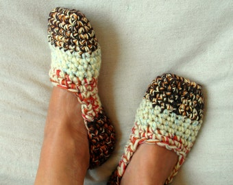 Crochet slippers, Women's shoes, Multicolor slippers, House shoes - US 8/9 EU 39/40