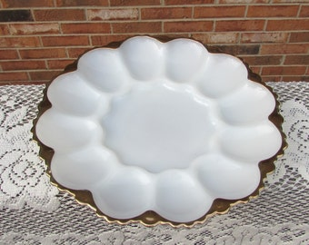 Milk Glass Deviled Egg Plate ~ Anchor Hocking Deviled Egg Dish with Gold Trim ~ Cottage Chic Decor ~ Beautiful Condition