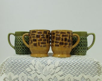 Retro Ceramic Coffee Mugs ~ Group of 4 ~ Avocado Green and Mustard Yellow ~ Japan ~ Mid Century Décor
