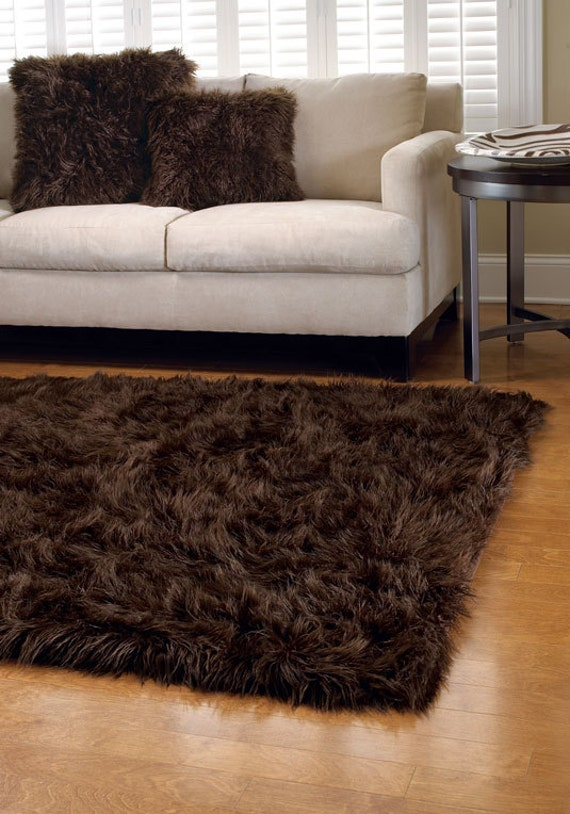 539 x 739 premium dark brown fur rug non slip washable for Fur rugs