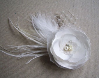 Wedding Ivory Hair Flower Ivory Bridal Headpiece Ivory Hair Clip Ivory Flower Girl Ivory Wedding Hair Accessory Ivory Hair  Barrette
