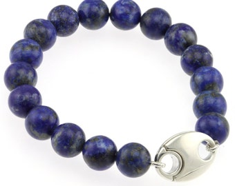 "925 Sterling Silver Magnetic Clasp Bracelet / Natural 10mm Lapis Lazuli 6"" to 9"" Long"