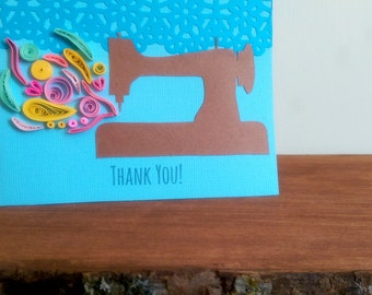 Quilled Sewing Thank You Card