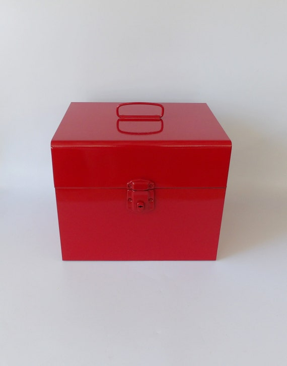 Metal Tool Box Makeup Case Storage Box With Lid Vintage Red