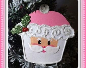 Pink Santa cupcake ornaments.