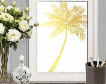 Gold palm tree print Palm tree printable Mustard yellow Palm tree wall art Gold home decor Gold white wall art DOWNLOAD 5X7, 8X10, 11X14