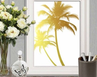 Gold Palm Tree Print Palm Tree Printable Mustard Yellow Palm Tree Wall Art Modern Gold Home