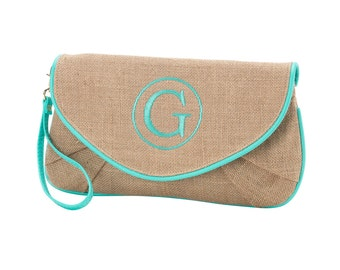 Monogram Burlap Mint Trim Clutch