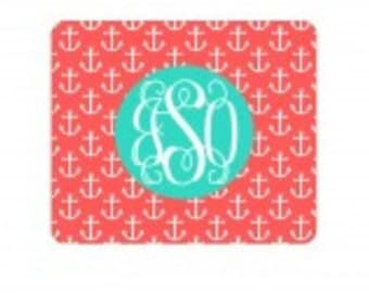 Personalized Coral Anchor Mouse Pad