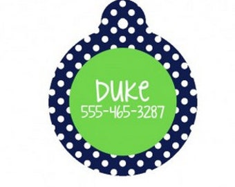 Personalized Navy Dot Dog Tag