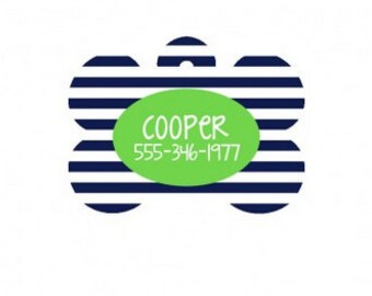Personalized Navy Stripe Dog Bone Tag for Pets