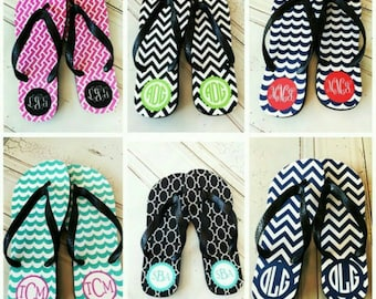 Flip Flops - Monogram Flip Flops - Bridesmaid Flip Flops - Wedding Flip Flops -  Personalized Bridesmaid Gift - Womens Shoes - Bachelorette
