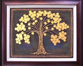"""SALE !!! Mixed media coins on canvas painting 18"""" x 14"""" Art Deco"""