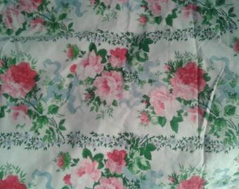 Vintage French designer decorator fabric shabby chic roses