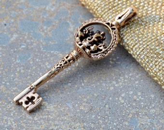 Large Bronze Key Pendant with Ganesh, Ganesh Key Pendant, Bronze Ganesh Pendant, 50x18mm, 6mmx3mm Fixed Bail, Key,Ganesh, Bohemian Pendant