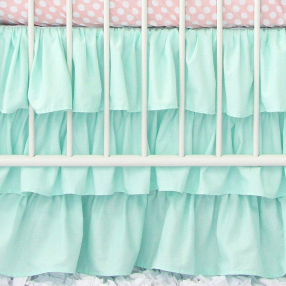 Three Tiered Mint Ruffle Crib Skirt Mint Baby Bedding