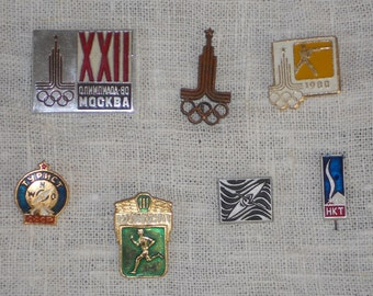 Soviet vintage sports badge pins lot of 7 metalic Moscow Olympic games 1980 USSR era souvenir collectibles