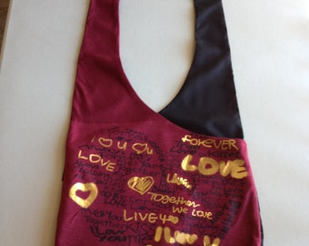 Handmade Upcycled Red and Black Hobo Shoulder Purse