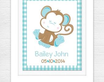 Birth Announcement Print - Baby Name Art - Nursery decor - Nursery wall art - Wall art - Blue Birth Print - Monkey Wall Art
