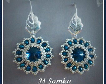 Beadwoven Crystal Rivoli Earrings Blue