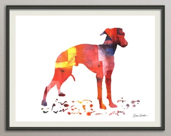 italian greyhound dog art print watercolor print  silhouette painting print poster wall art decor drawing, dog wall art silhouette