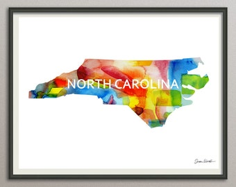 north carolina state art print wall art decor poster watercolor painting, united state art print wall art