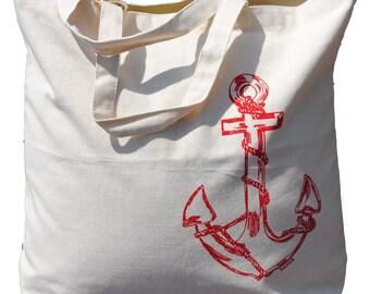 Beach Canvas Tote Bag - Bridesmaid Tote Bag - Bridesmaid Gifts - Bridal Party Gifts - Big Tote Bags - Anchor Tote Bag -Large Cotton Tote Bag