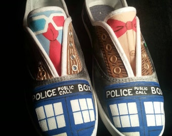 Hand Painted Doctor Who Shoes - Tenth and Eleventh Doctor Suits