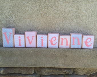 Child's name blocks - pink/peach/gray themed