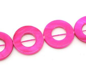 Hot Pink Shell Round Beads Circle Bead 25mm 1 Strand 3984