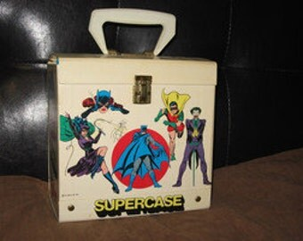 vintage 1977 d.c. comics superheroes records supercase