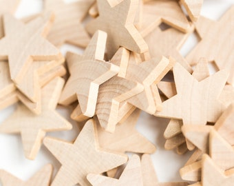 25 Wood Stars | DIY Christmas Ornaments | Unfinished Wood Star|  Wood Star Cut Outs|Box 22