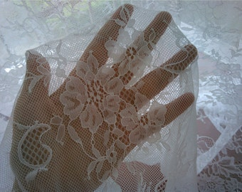 1yard Eyelash Lace ,Pure white Chantilly Lace Fabric-150cm wide,  Wedding Table Decor,  Floral lace shawl